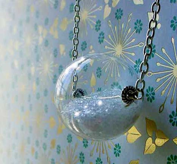 Snow Globe Pendant, Hollow Clear Glass Orb, Glitter Snow, Winter Keepsake, Gift for Her, Under 50