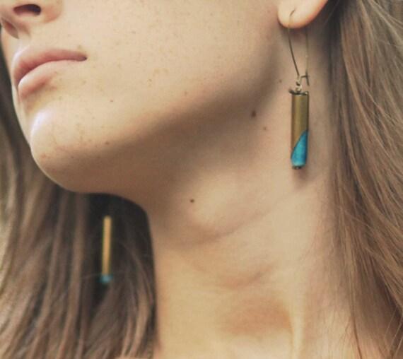 Turquoise Earrings Tribal Geometric Rustic Bullet Casings Dangles Gift Box