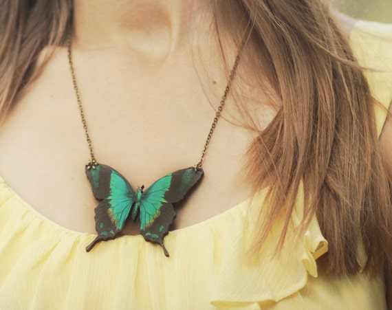 Teal Moth Necklace Buttefly Pendant Blue Green Woodland Gift for Her Under 25