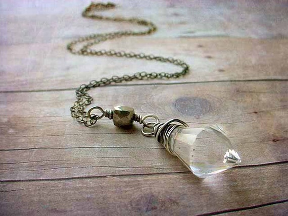 Crystal Pendant Sterling silver wire Wrapped Sparkling Prism with Pyrite necklace oxidized gift box