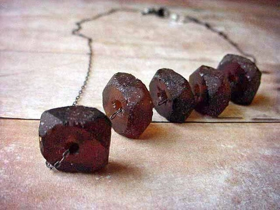 Recycled Glass Bottle Brown Beads Beach Glass Necklace Gunmetal Chain Gift Box