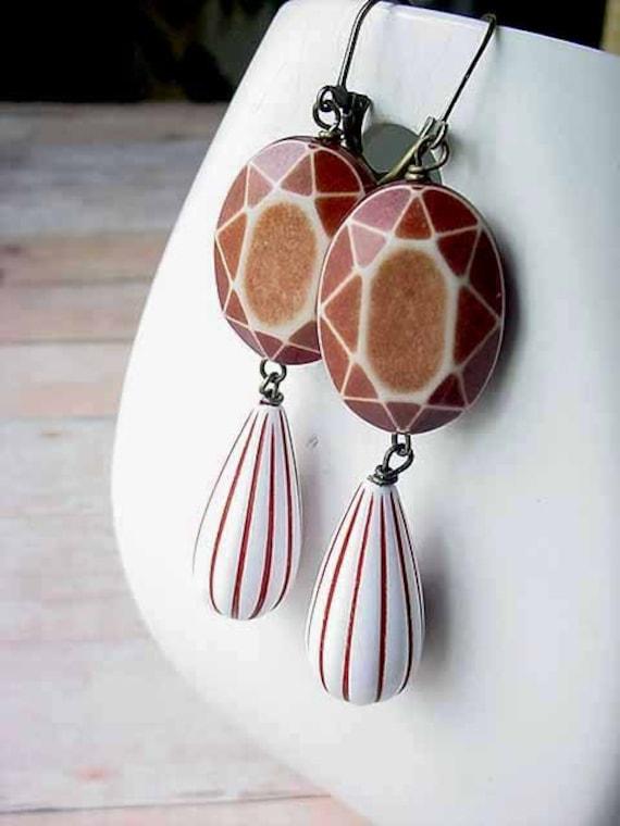 Geometric Earrings Brown and White Stripe Faceted Dangles Retro Modern OOAK Gift Box