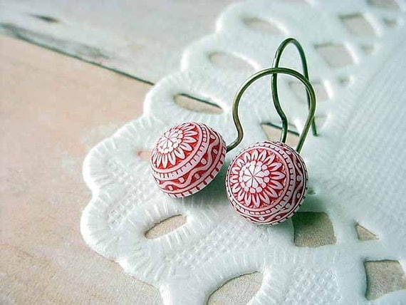 Red and White Earrings Tiny Mosaic Dome Geometric Gift for Her Under 10