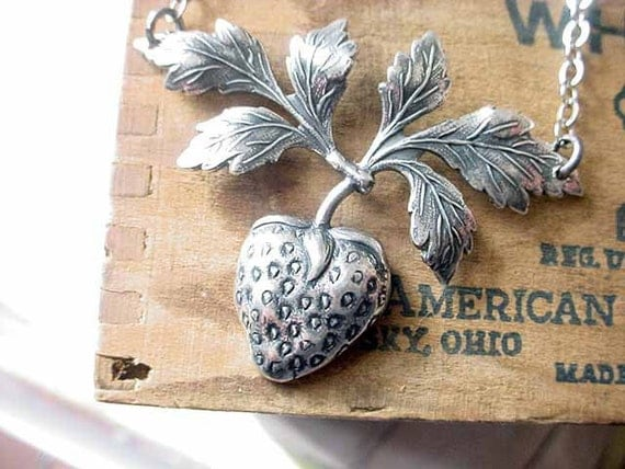 Strawberry Necklace Silver Berry Leaves Pendant Gift for Gardener
