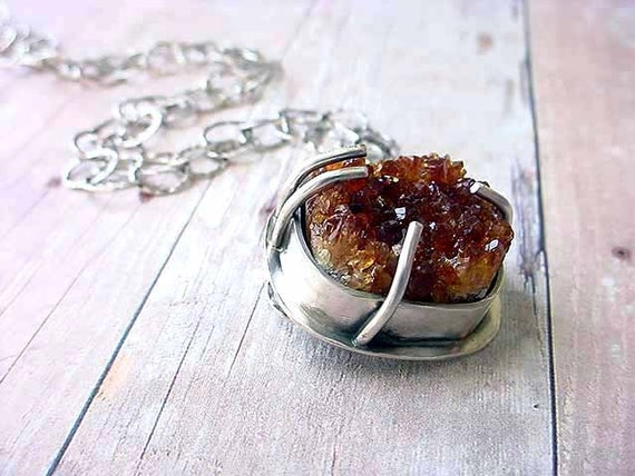 Orange Citrine Pendant - Raw Crystals Gemstone - Chunky Sterling Silver Necklace - Oxidized Rustic Gift Box