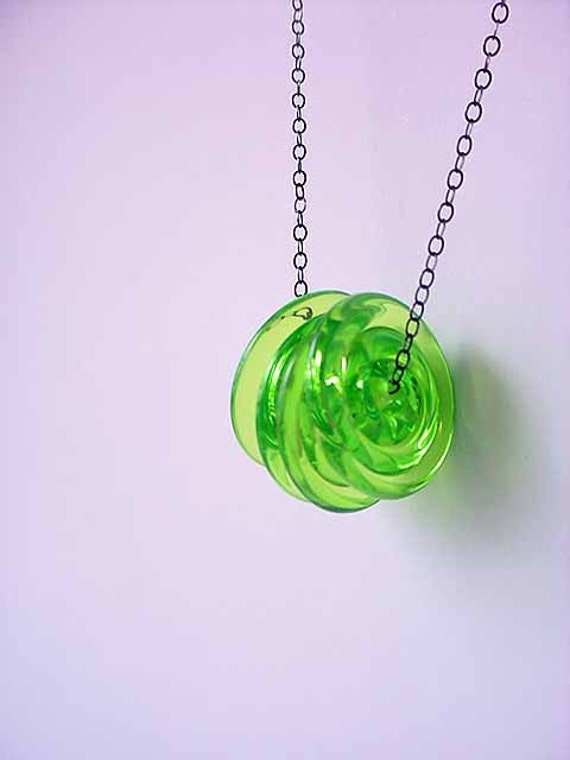Lime Green Lampwork Glass Disc Pendant Neon Spring Summer Necklace