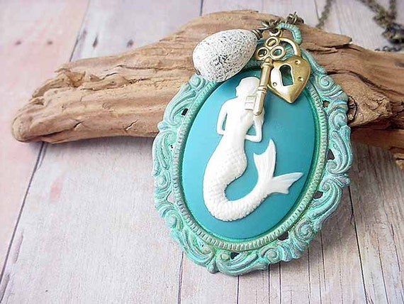 Mermaid Cameo Pendant Turquoise Teal Hand Patinaed Setting Nautical Necklace Gift Box