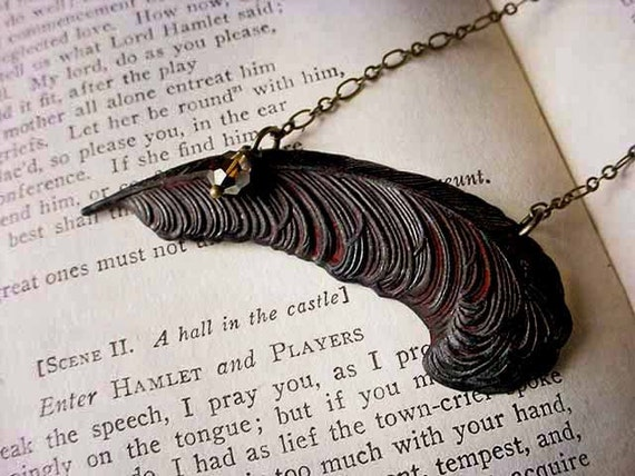 Black Quill Necklace Patinaed Feather Rusted Iron Blackened Victorian Gothic Romantic Gift Box