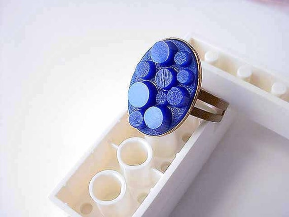 Lego Ring Adjustable Bright Blue Modern Vintage 3D Cabochon Glass Sodalite Cobalt Blue in Copper Gift Box
