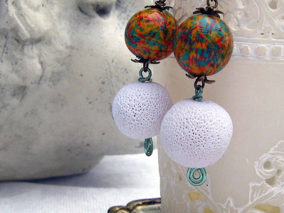 Summer Earrings in Colorful White, Orange and Aqua Blue Unique Polymer Clay and Wood Lightweight Dangles