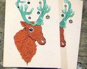 Reindeer Christmas Cards - Red (Set of 2)