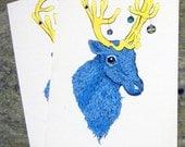 Reindeer Holiday Cards - Blue (Set of 2)