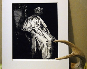 """The Pope as a Turtle Matted Limited Edition Print 11x14"""""""