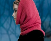 Hooded Cowl Cashmere Mohair blend Handdyed Fuschia