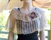 Knit Wedding Capelet Cream Ivory Beige Romantic and Airy Cowl Wrap Shawl