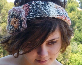 PDF Pattern Rosette Headband in mock Fairisle Yarn Soft Orange Black Cream White - any 4-ply DK Sports yarn