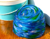 Vintage Union Made Electric Blue & Aqua Feathered Pill Box Hat with Hat Box