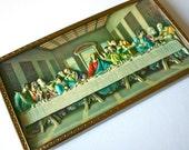 Vintage Last Supper Scene - 3D Relief Print - Gold Framed Religious Easter Art - Intercraft Industries Chicago