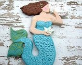 Mermaid Wall Sculpture - Brunette Sea Siren in Aqua and Green with White Starfish & Seashell