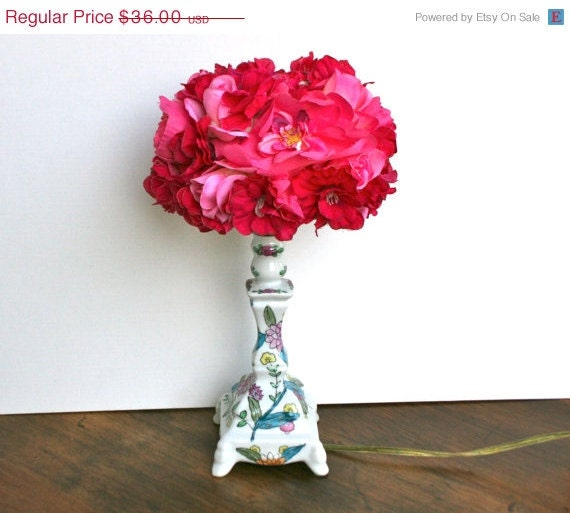 On Sale Upcycled Ceramic Floral Accent Lamp with Silk Flower Embellished Floral Shade