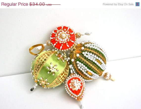 On Sale Vintage Set of 4 Fancy Hand Beaded Sequined Christmas Ornaments