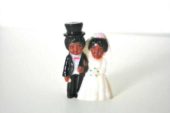 Vintage Wedding Cake or Cupcake Topper - Miniature Bride & Groom