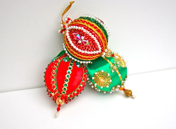 Lot of Red & Green Elegant Beaded Sequined Hand Crafted Christmas Tree Ornaments