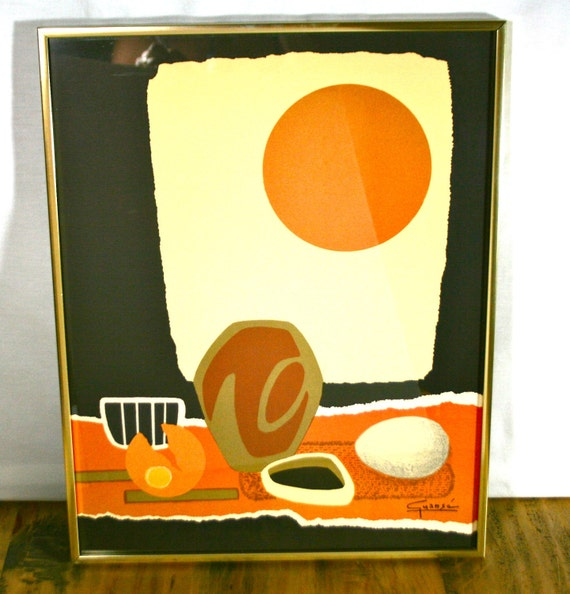 Vintage Mid Century Abstract Lithograph Print - Signed - Antonio Guanse