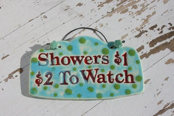Ceramic Outdoor Shower Sign - Handmade Glazed Clay Tile Art Sign