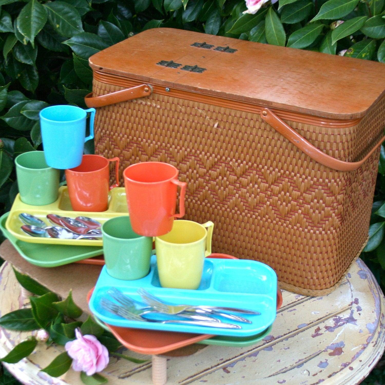Red Plastic Picnic Basket : Vintage picnic basket redmon hamper complete set of