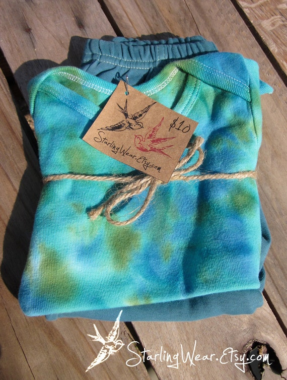 Tie Dye Gift Set (Outfit) - Onesie and pants, hand-dyed, size 12 months
