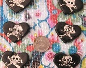 BLACK UGLY SKULL HEART SHAPED CERAMIC BUTTONS