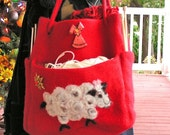 LARGE RED FELTED WOOL YARN TOTE - LADY IN RED