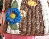 Ribbed Hand Knit Shoulder Bag - Chocolate Kiss