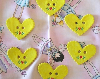 BRIGHT YELLOW - HEART SHAPED - CERAMIC BUTTONS
