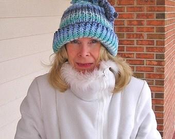 Blue Skies - Hand Knit Barn Hat