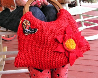 Red Hand Knit Handbag - Rooting Tooting Cowgirl in Red