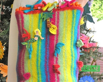 Beachy Key West Shopper - Large Felted Handbag in Vibrant Stripes of Colorful Yarn