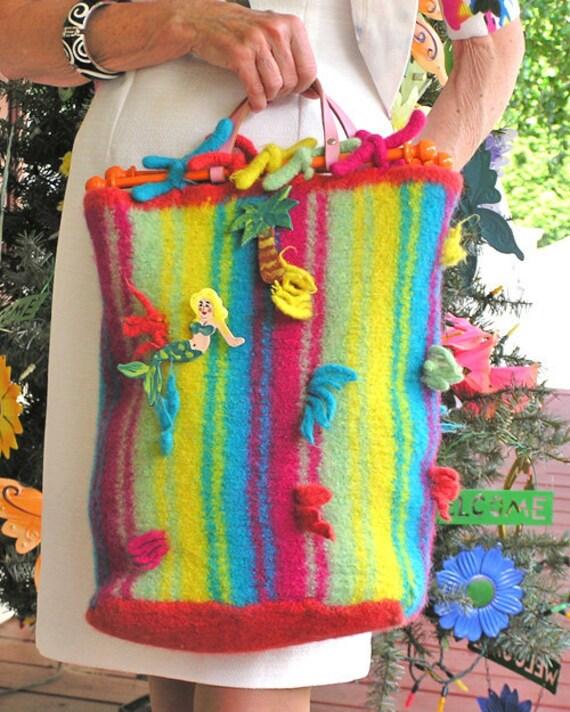 Beachy Key West Shopper - Large Felted Handbag in Vibrant Stripes of Colorful Yarn
