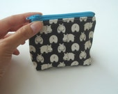 Tiny Zipper Pouch - Happy Hippos (blue)