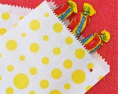 25 Yellow and White Polka Dot Paper Candy Bags 5 x 7