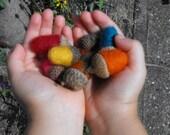 Needle Felted Woolen Acorns