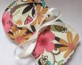Baby Gift Set in Michael Miller Cream Floral Charm - Bib and Burp Cloth (see shop annc. for free shipping offer)