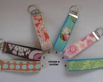 Key Fob wristlet key chain with strong cotton webbing - Group 4 - See shop annc. for free shipping offer