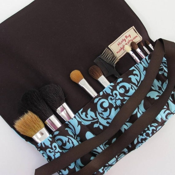 Makeup Brush Roll in Michael Miller Spa Dandy Damask and dark brown - Large Size (see shop annc. for free shipping offer)