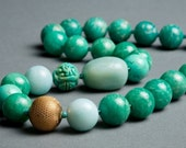 Teal Amazonite Necklace Vintage Italian Brass, Turquoise, Fine Silver under 100 - My Favorite Mistake