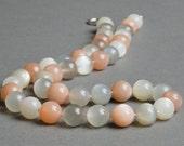 Moonstone Necklace in Peach Gray White Pastel, Sterling Silver under 100 - June Birthstone - Artemis
