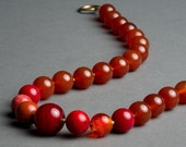 Red Stone Necklace with Carnelian, Vintage Chalcedony, Murano and Venetian Glass, Fossil, Red Jasper - Ring of Fire