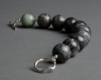 Gray Bracelet with Venetian Glass, Larvikite, Sterling Silver - Storm Clouds