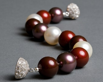 Burgundy Marsala Swarovski Pearl Bracelet with Rhodium Crystal Clasp - Opera Ball Bracelet
